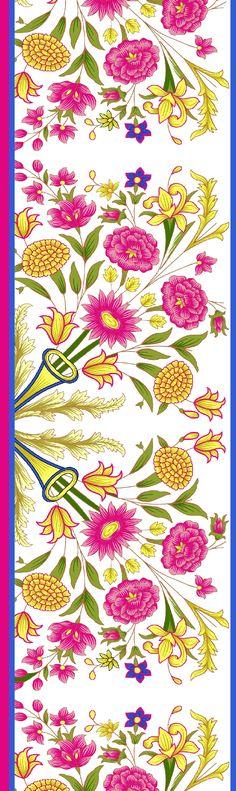 Border Pattern, Border Design, Textile Prints, Textile Design, Textiles, Lotus Art, Floral Drawing, Graphic Design Art, Amazing Flowers