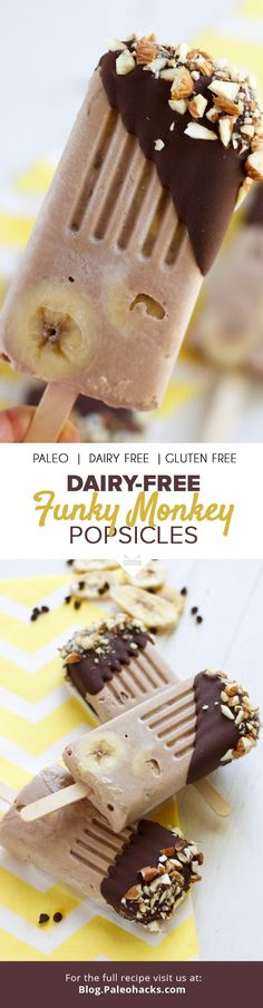 We think chocolate and banana go together like summer and ice cream, so we've brought them all together in one place for these cool and creamy Funky Monkey Pops. Best of all, they are made with less than 10 simple ingredients that you probably already have on hand. For the full recipe visit us here: http://paleo.co/chocbananapopsicles