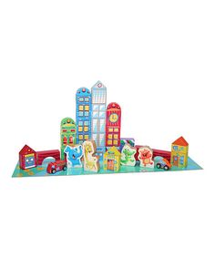 These blocks are the perfect size for little hands and help in the development of hand-eye coordination. Featuring 40 colorful blocks with city-inspired designs plus a puzzle-piece mat, the set makes a darling gift for little urbanites.