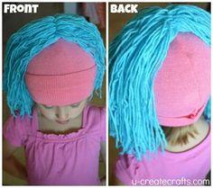 Easy Raggedy Yarn Wig Tutorial - U Create Cute Halloween, Halloween Crafts, Sally Costume, Clown Wig, Yarn Wig, Diy Wig, Clown Party, Crochet Amigurumi, Halloween Disfraces