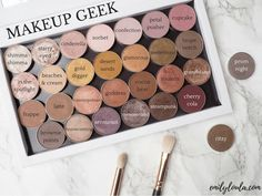 Looks Like I will be making myseMakeup Geek Eyeshadows in Shimma Shimma, Starry Eyed, Cinderella, Sorbet, Confection, Petal Pusher, Cupcake, In the Spotlight, Beaches & Cream, Gold Digger, Desert Sands, Glamourous, Pretentious, Taupe Notch, Frappe, Latte, Cosmopolitan, Goddess, Cocoa Bear, Roulette, Grandstand, Brownie Points, Homecoming, Sensuous, Mesmerized, Steapunk, and Cherry Cola. Also pictured outside the palette, Prom Night and Ritzy. Review by emilyloula beauty blog.