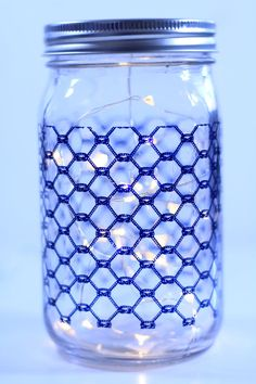 Mason Jar light with blue rope design by TheSunroom252 on Etsy