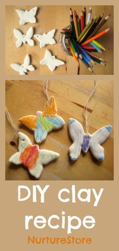 A super easy DIY craft recipe :: clay from 1 part white glue and two parts cornstarch, dries smooth - use colored pencils or even crayons to decorate, endless possibilities!!