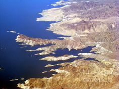 Lake Mead in Arizona seen from an airplane, 32,000 ft. up. Visit eva-kato.artistwebsites.com to buy prints