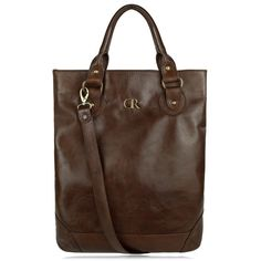 Jela Dark Brown - large vertical unisex bag, brown real leather tote, large man purse, simple shoulder & cross-body bag, branded tote