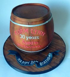 With a whole lot of wedding cakes coming up, it was a welcome change to work on this more straightforward cake, and is always fun to do wood :) 40th Birthday Cakes For Men, 80th Birthday, Whiskey Barrel Cake, Cake Gallery, Fondant Cakes, Celebration Cakes, Let Them Eat Cake, Themed Cakes, Amazing Cakes