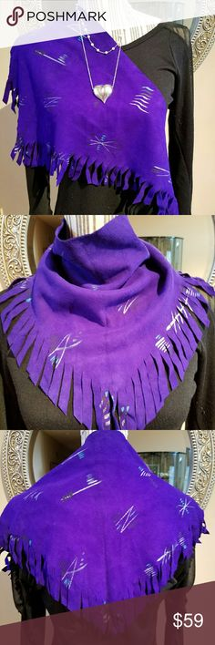 """Hand Painted Purple Suede Scarf w/Fringe This is an amazing NWOT """"One of a Kind"""" accent piece for your wardrobe.  It was purchased on vacation and never worn. Truly stunning. If you love purple, this is for you. Vintage  Accessories Scarves & Wraps"""