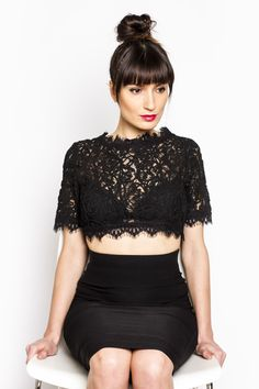 Lace Blossom Crop Top by CUGGO / Delicate and feminine, this crop top features so many pretty details. Get it now on CUGGO.com / Crop Top Outfits 2015 | Black Crop Top Winter Outfit | Black Skirt / Our suggestion - wear with high waisted skirt or skinny pants