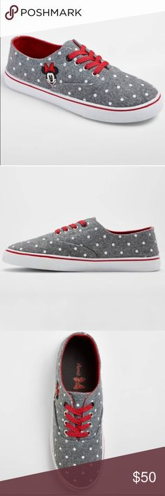 Minnie Mouse 🎀 Sneakers - Gray You'll have the sweetest pep in your step when you're wearing the Minnie Mouse Sneakers from Disney®. These gray sneakers have a cute polka-dot pattern in white, contrasted by red and white polka-dot laces. Add them to a simple jeans-and-tee look or dress down a sporty little dress for some added comfort. Preorder takes 5 days• Disney Shoes Sneakers