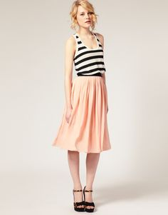 ASOS peach midi skirt with black waistband worn with black an white striped singlet and leopard print heels
