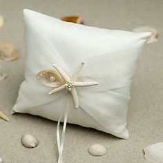 Beach Themed Starfish Design White Satin Ring Pillow – USD $ 19.99