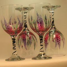 Hand Painted Lupine Wine Glasses /  4. $60.00, via Etsy.