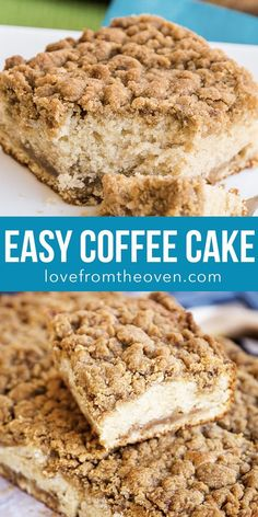This is the BEST Coffee Cake recipe! Easy homemade recipe that will make the best breakfast or brunch treat. This is the BEST Coffee Cake recipe! Easy homemade recipe that will make the best breakfast or brunch treat. Easy Homemade Recipes, Easy Cake Recipes, Homemade Cakes, Easy Desserts, Baking Recipes, Delicious Desserts, Easy Crumb Cake Recipe, Homeade Desserts, Simple Dessert Recipes