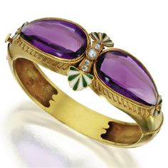 Gold, Amethyst, Diamond, Pearl and Enamel Bangle-Bracelet, Carlo Giuliano, Ca. 1874-1895 | lot | Sotheby's
