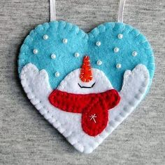 Christmas snowman, tree ornaments, felt snowman, home decor, felt christmas ornaments, felt ornament, embroidery handmade, PRICE PER 1 ITEM