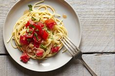 Tomatoes do double duty in the summer's best pasta -- and it all comes together in the time it takes to set the table.