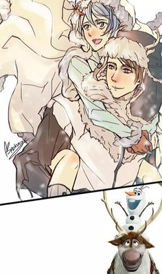 Frozen, Olaf and Sven anime version