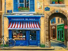 French Cheese Shop Painting  - French Cheese Shop Fine Art Print