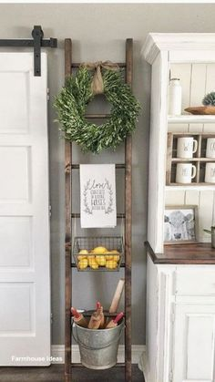 One Simple Trick for Kitchen Decor Ideas Apartment Small Spaces Unveiled - a., One Simple Trick for Kitchen Decor Ideas Apartment Small Spaces Unveiled - a. Country Farmhouse Decor, Farmhouse Kitchen Decor, Kitchen Redo, Wall Decor For Kitchen, Vintage Farmhouse, Farmhouse Ideas, Small Wall Decor, Kitchen Storage, Decorating With Ladders
