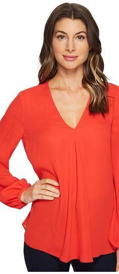 Ellen Tracy Front Fold V-Neck Blouse (Tomato Red) Women's Blouse - Ellen Tracy, Front Fold V-Neck Blouse, ETMS73025-618, Apparel Top Blouse, Blouse, Top, Apparel, Clothes Clothing, Gift, - Fashion Ideas To Inspire