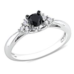 1/2 CT. T.W. Enhanced Black and White Diamond Engagement Ring in Sterling Silver