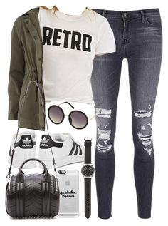 """""""Outfit for university in autumn"""" by ferned on Polyvore featuring J Brand, Forever 21, Dorothy Perkins, Casetify, adidas Originals, Alexander Wang, Topshop and J.Crew"""