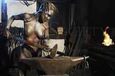 """BLACKSMITH II Body painting by Bodypaint Düsterwald  First pictures of the new project: """"WORKING ART"""" by artist Jörg Düsterwald from Germany. See the complete gallery at """"News"""" on: www.dewaldo.de ----- Photographer: T. Skupin - www.future-image.de ----- Model: Roxie"""