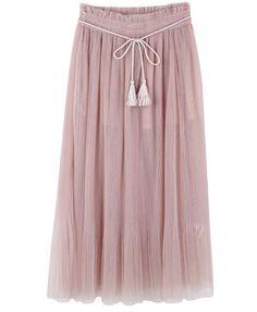 Pastel Pleated Mesh Skirt with Drawstring Waist from Chicnova $73.80