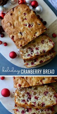 Looking for an easy Christmas breakfast try this Holiday Cranberry Bread Recipe at Remodelaholic - Holiday Holiday Bread, Christmas Bread, Christmas Breakfast, Holiday Baking, Christmas Baking, Christmas Sweets, Christmas Goodies, Christmas Morning, Simple Christmas