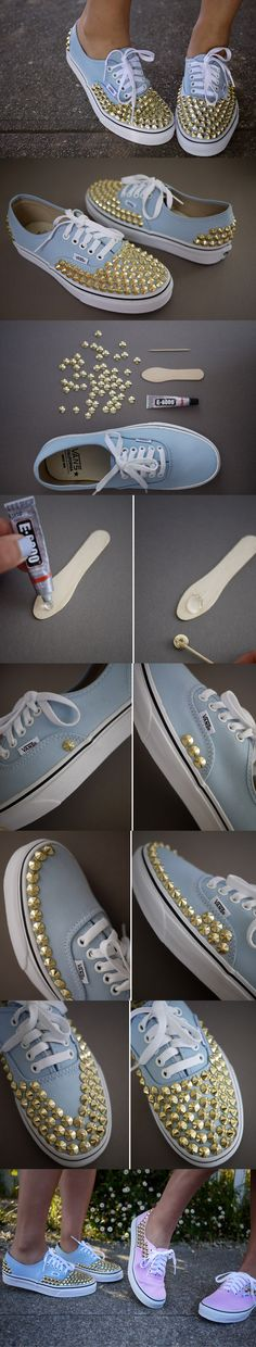 12 Interesting And Useful Daily DIY Ideas, DIY Studded Sneakers