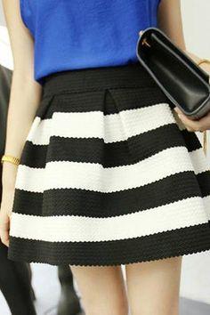 New Elegant Womens Girls Retro Flared Black And White Stripe Mini Skirt Dress…
