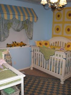 Yellow and Blue baby bedding and a Vintage Sunflower Quilt add a touch of Tuscany to baby's nursery. #nurserydecor