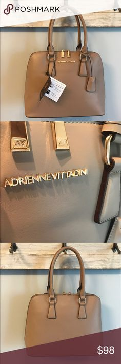 "NWT $198 Adrienne Vittadini New with tag. Adrienne Vittadini taupe purse. Zip around detail. 13.5"" X 10.5"" Dust bag included. Fully lined interior. Metal feet on bottom. Adrienne Vittadini Bags"