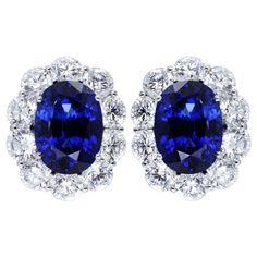 1stdibs - Vivid & Elegant 17.93ctw Sapphire Cluster Earrings explore items from 1,700  global dealers at 1stdibs.com