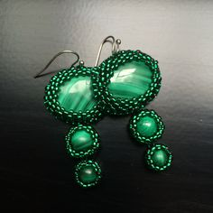 BW64 Angelina - beaded Malachite earrings