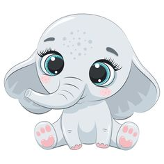 Cartoon Baby Animals, Baby Animal Drawings, Cartoon Drawings Of Animals, Zoo Animals, Cute Drawings, Cute Animals, Elefante Tattoo, Cute Clipart, Australian Animals