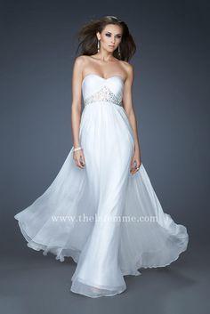 Cheap La Femme 15986 Strapless White Long Prom Dresses Hot Sale ...