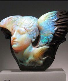 """""""Hajandrade: """"Dream Cloud"""" Carved Boulder Opal   Royal Ontario Museum   Toronto, Ontario, Canada   (via lightwrite)"""""""