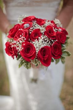 Red Rose & Baby's Breath Bouquet| Red & Rustic Squires Farms Wedding| Photographer: Oracle Imaging & Design