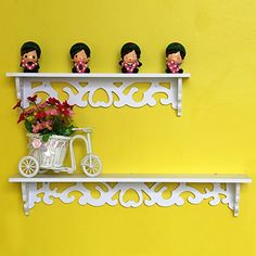 Yosoo White Wooden Chic Filigree Style Decorative Wall Corner Shelves CutOut Design Shelf