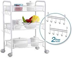Life 3 Tier Carbon steel Storage Trolley/Serving Trolley/storage rack/Storage Unit/Utility Carts with 2 Hooks for Kitchen,Bathroom,living room,Office,White