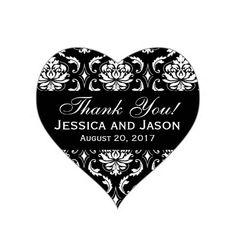 Black White Wedding Damask Thank You Label Heart Stickers