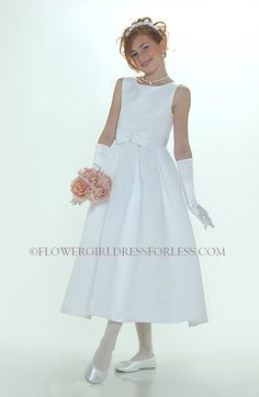 69bf0f7de2bcf Flower Girl Dress Style 547-White or Ivory Sleeveless Bridal Style All  Satin Dress With