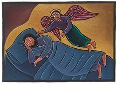 Giclee Print: Joseph's Dream Art Print by Laura James by Laura James : Catholic Art, Religious Art, Joseph Dreams, Laura James, Dream Art, Orthodox Icons, Angel Art, St Joseph, Sacred Art