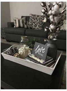 Coffee Table Decor Living Room, Center Table Living Room, Decorating Coffee Tables, Coffee Table Tray Decor, Coffee Tray, Espresso Coffee, Coffee Table Centerpieces, Coffee Table Arrangements, Shower Centerpieces