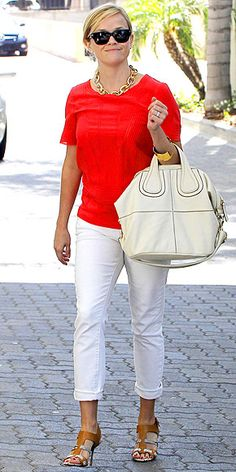 I need a pair of white pants for summer...ones that don't make me look like a nurse!    Hers are casual, like chinos.  I need ones a bit more refined.  I love the color of her top...