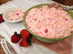 Cherry Fruit Salad - fabulous pink salad with maraschino cherries, pineapple, fruit cocktail, marshmallows and walnuts in a delicious cream cheese and cool whip base.