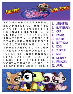 """Made this """"Littlest Pet Shop"""" word-search for my daughter's 9th birthday slumber party. The girls loved it very much!!!"""