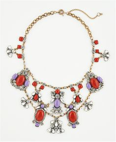 f4001af5702 Lacy Red Bib Necklace - vintage inspired crystal statement necklace by Shamelessly  Sparkly $34.90 Crystal Statement