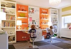 boy's rooms - ikea bookshelf bookshelves white floating desks floating shelves orange accent walls paint color yellow white striped roman shade gray checkers wool rug lucite acrylic stools chrome base boy's room office